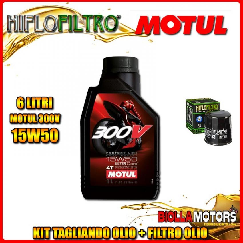 KIT TAGLIANDO 6LT OLIO MOTUL 300V 15W50 KAWASAKI VN2000 A7F Vulcan 2000CC 2007- + FILTRO OLIO HF303