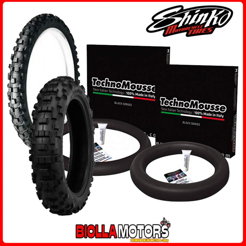 SET GOMME SHINKO + MOUSSE 90/100 21 57R + 140/80 18 70R YAMAHA 600 TT RE (5CH5) ANTERIORE MEDIUM + POSTERIORE HARD