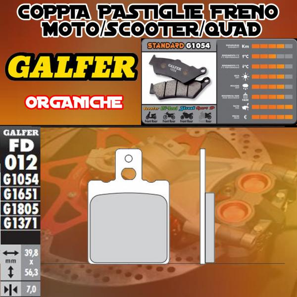 FD012G1054 PASTIGLIE FRENO GALFER ORGANICHE ANTERIORI ACCOSSATO ENDURO 50 89-