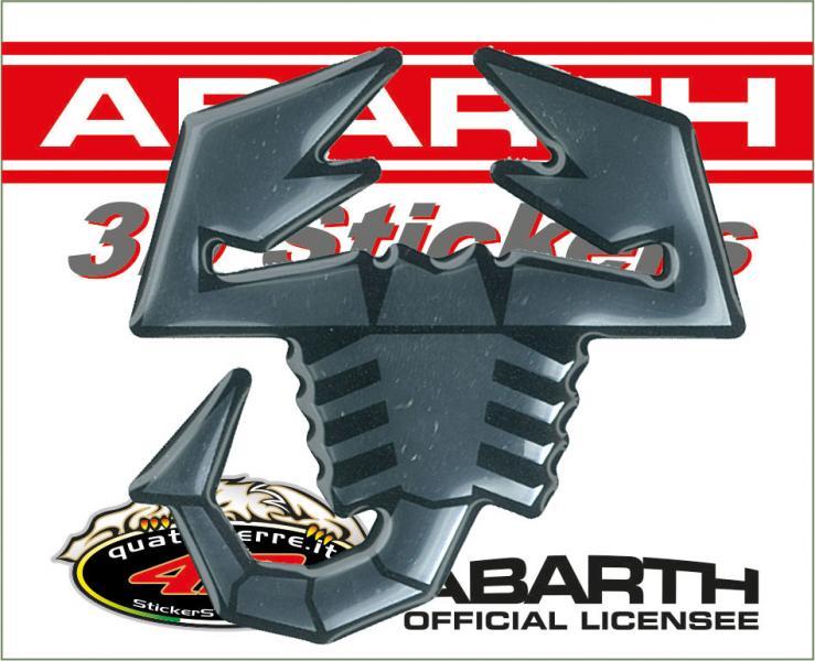 21542 ABARTH 3D STICKERS SCORPIONE ARGENTO BORDO BLACK 65MM