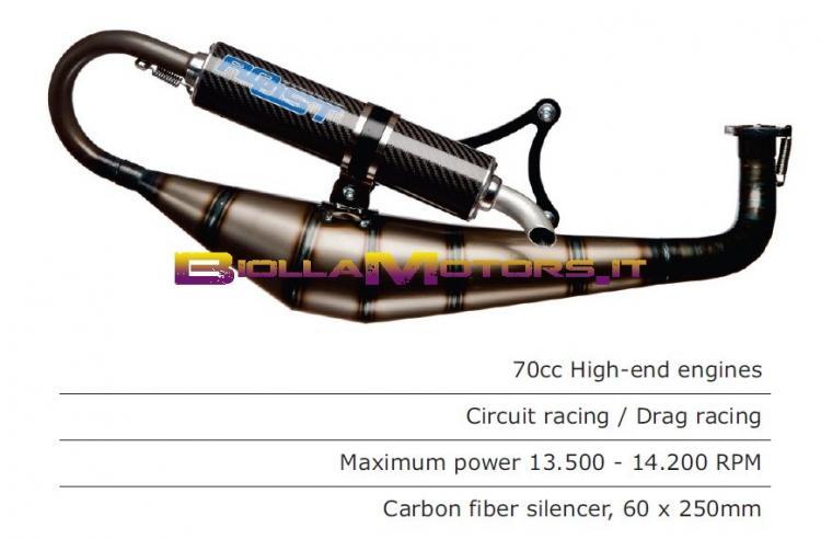 RST.205.EVO SCARICO ROOST motori PIAGGIO / GILERA PER GRUPPI TERMICI POLINI EVO SIL. CARB