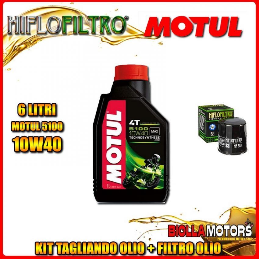 KIT TAGLIANDO 6LT OLIO MOTUL 5100 10W40 KAWASAKI VN2000 A7F Vulcan 2000CC 2007- + FILTRO OLIO HF303