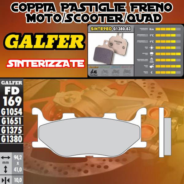 FD169G1380 PASTIGLIE FRENO GALFER SINTERIZZATE ANTERIORI MOTOM TRANSCITY 07-