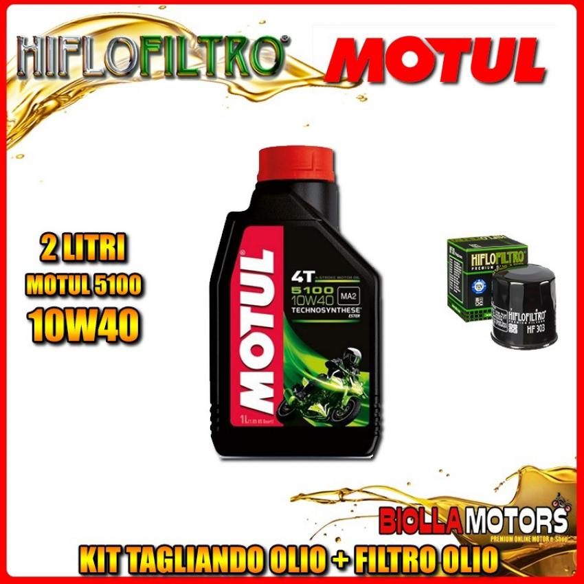 KIT TAGLIANDO 2LT OLIO MOTUL 5100 10W40 KAWASAKI Z300 (ER300 B) ABS 300CC 2014-2016 + FILTRO OLIO HF303