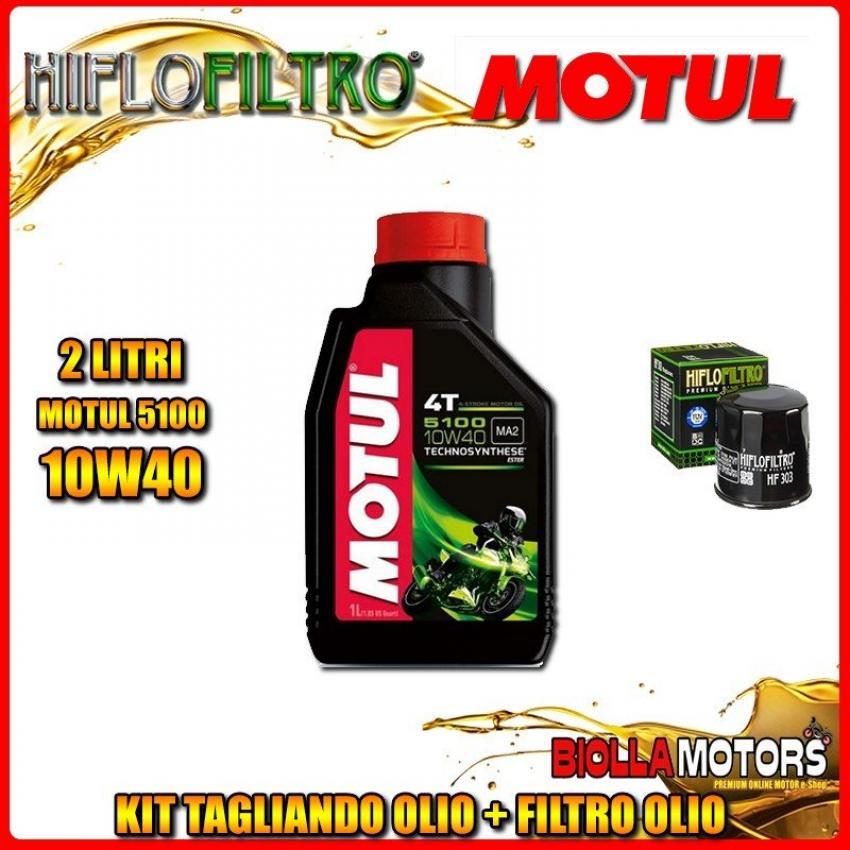 KIT TAGLIANDO 2LT OLIO MOTUL 5100 10W40 YAMAHA YFM450 FAH Kodiak 450 4WD Hunter 450CC 2003-2005 + FILTRO OLIO HF303