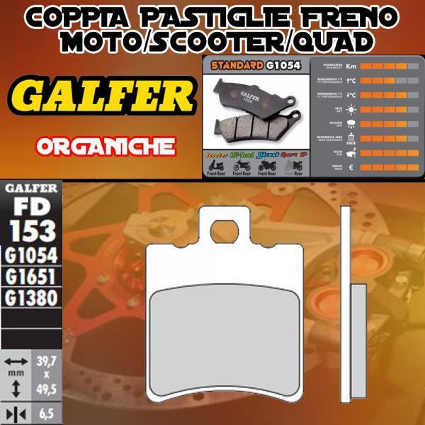 FD153G1050 PASTIGLIE FRENO GALFER ORGANICHE ANTERIORI GENERIC ONIX 10-
