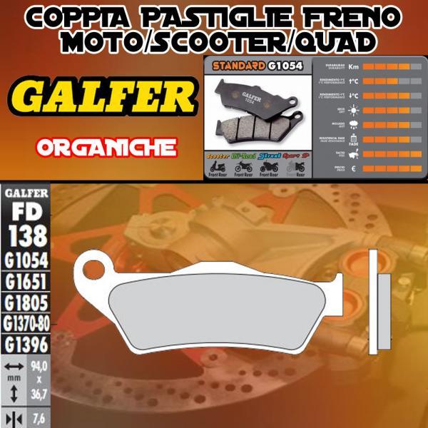 FD138G1054 PASTIGLIE FRENO GALFER ORGANICHE ANTERIORI OSSA ENDURO 300i 12-