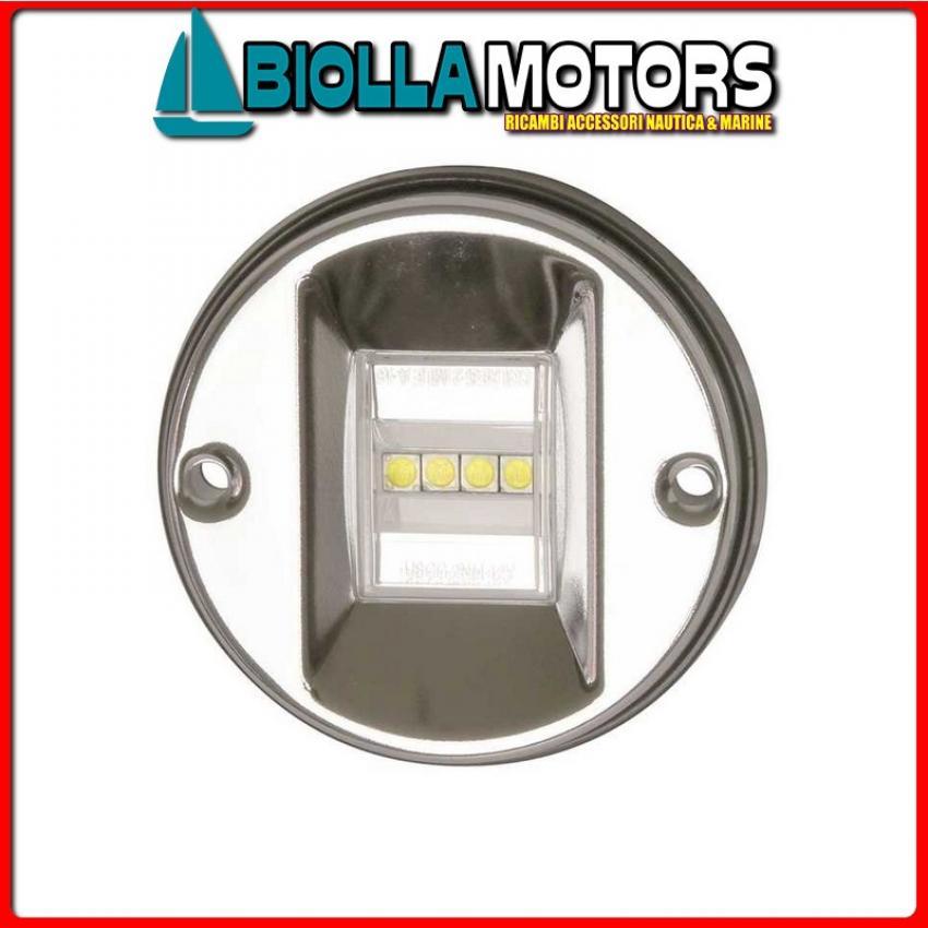 2111006 FANALE FLAT WHITE LED INOX 135 Fanale di Poppa Round LED (CE)