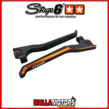 S6-SSP105-5/OR Set Leve Freno Stage6 CNC nero/arancione PEUGEOT Jetforce C-Tech 50cc LC STAGE6 RT