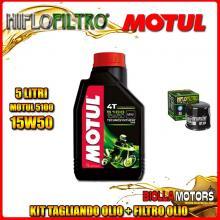 KIT TAGLIANDO 5LT OLIO MOTUL 5100 15W50 KAWASAKI ZX-12R A1,A2,B1,B2 Ninja (ZX1200) 1200CC 2000-2003 + FILTRO OLIO HF204