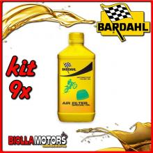 KIT 9X LITRO BARDAHL AIR FILTER SPECIAL OIL PULITORE PER SPUGNE FILTRO 1LT - 9x 701039
