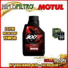KIT TAGLIANDO 2LT OLIO MOTUL 300V 15W50 PIAGGIO 125 Beverly GT / Rst / Sport / MIC / Tourer 125CC 2001-2011 + FILTRO OLIO HF183