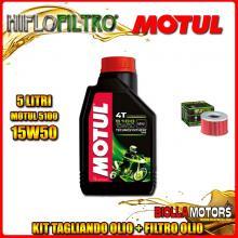 KIT TAGLIANDO 5LT OLIO MOTUL 5100 15W50 HONDA TRX650 FA Fourtrax Rincon 650CC 2003-2005 + FILTRO OLIO HF111