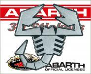 21543 ADESIVO ABARTH 3D STICKERS SCORPIONE ARGENTO SATINATO BORDO NERO 65MM