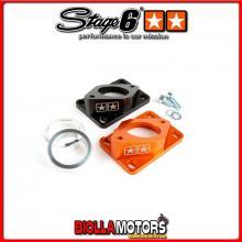 S6-3318803/OR Collettore Aspirazione Stage6 R/T High Flow 34mm Derbi / Minarelli AM6 arancio (EBS050) STAGE6 RT