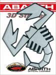 21592 ADESIVO ABARTH 3D STICKERS SCORPIONE ARGENTO SATINATO BORDO NERO 12CM