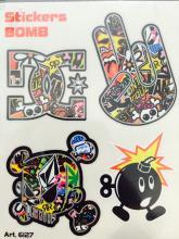 6127 ADESIVO STICKERS BOMB DG-MANO-TESCHIO