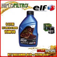 KIT TAGLIANDO 5LT OLIO ELF MOTO 4 ROAD 15W50 KAWASAKI ZX-12R A1,A2,B1,B2 Ninja (ZX1200) 1200CC 2000-2003 + FILTRO OLIO HF204