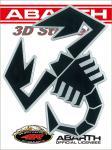 21591 ADESIVO ABARTH 3D STICKERS SCORPIONE NERO BORDO ARGENTO SATINATO 12CM