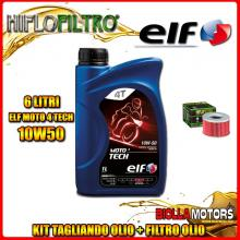 KIT TAGLIANDO 6LT OLIO ELF MOTO TECH 10W50 HONDA TRX500 FPA Fourtrax Foreman Rubicon GPScape with EPS 500CC 2009-2014 + FILTRO O