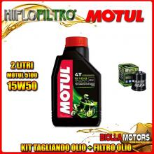 KIT TAGLIANDO 2LT OLIO MOTUL 5100 15W50 PIAGGIO 125 Beverly GT / Rst / Sport / MIC / Tourer 125CC 2001-2011 + FILTRO OLIO HF183