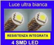 S1.LEC104BT COPPIA LAMPADE T10 12V/5W 4 LED SMD CON RESISTENZA INT