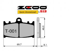 45T00100 PASTIGLIE FRENO ZCOO (T001 EX) KAWASAKI ZXR 400 ( L1-L8 ) 1991-1993 (ANTERIORE)