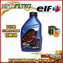 KIT TAGLIANDO 3LT OLIO ELF MOTO 4 ROAD 15W50 KTM 400 EXC 2nd Oil 400CC 2006-2007 + FILTRO OLIO HF157