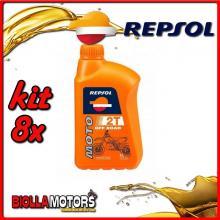 KIT 8X LITRO OLIO REPSOL MOTO OFF ROAD 2T 1LT - 8x RP147Z51IT