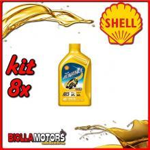 KIT 8X LITRO OLIO SHELL ADVANCE 4T AX5 15W50 1LT - 8x 550027092