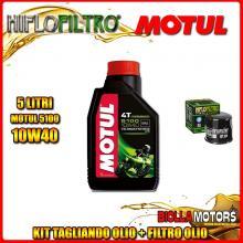 KIT TAGLIANDO 5LT OLIO MOTUL 5100 10W40 KAWASAKI ZX-12R A1,A2,B1,B2 Ninja (ZX1200) 1200CC 2000-2003 + FILTRO OLIO HF204