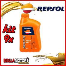 KIT 9X LITRO OLIO REPSOL MOTO FORK OIL 5W 1LT FORCELLA - 9x REPSOL22