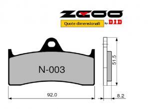 45N00300 COPPIA PASTIGLIE RACING ZCOO (N003 EX) MV AGUSTA B4 BRUTALE 750 ORO 2003-2005