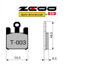 45T00300 PASTIGLIE FRENO ZCOO (T003 EX) SUZUKI GSX-R 1000 K3 2003-2003 (ANTERIORE)