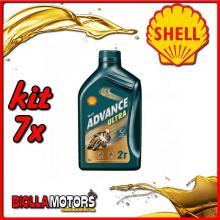 KIT 7X LITRO OLIO SHELL ADVANCE ULTRA 2T 1LT - 7x 55952104