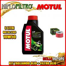 KIT TAGLIANDO 5LT OLIO MOTUL 5100 10W50 HONDA TRX650 FA Fourtrax Rincon 650CC 2003-2005 + FILTRO OLIO HF111