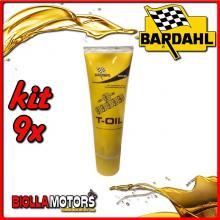KIT 9X 250ML OLIO BARDAHL T-OIL TRASMISSIONE 80W90 250gr LUBRIFICANTE PER TRASMISSIONI INGRANAGGI DI MOTO/SCOOTER - 9x 404019