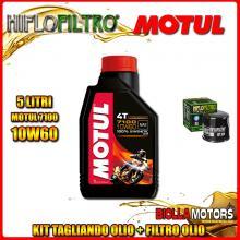 KIT TAGLIANDO 5LT OLIO MOTUL 7100 10W60 KAWASAKI ZX-12R A1,A2,B1,B2 Ninja (ZX1200) 1200CC 2000-2003 + FILTRO OLIO HF204