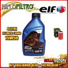 KIT TAGLIANDO 4LT OLIO ELF MOTO 4 ROAD 15W50 KTM 640 Duke 1st Oil Filter 640CC 1999-2006 + FILTRO OLIO HF155