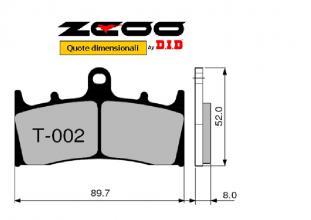 45T00200 PASTIGLIE FRENO ZCOO (T002 EX) SUZUKI GSX-R 750 T - V 1996-1997 (ANTERIORE)