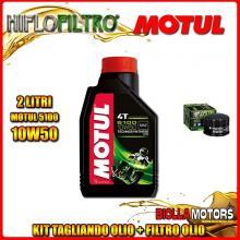 KIT TAGLIANDO 2LT OLIO MOTUL 5100 10W50 PIAGGIO 400 Beverly i.e. 400CC 2006-2008 + FILTRO OLIO HF184