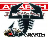 21541 ADESIVO ABARTH 3D STICKERS SCORPIONE NERO BORDO ARGENTO 65MM