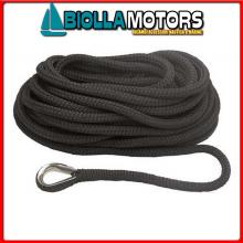 3101448 MOORING LINE BLACK 20MM X 15M< Treccia Mooring Nero con Redancia