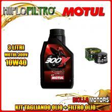 KIT TAGLIANDO 3LT OLIO MOTUL 300V 10W40 GILERA 800 GP / GP Centenario 800CC 2008-2014 + FILTRO OLIO HF565