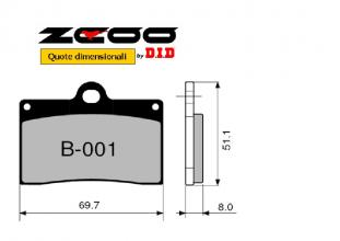 45B00100 PASTIGLIE FRENO ZCOO (B001 EX) HUSQVARNA SM 570 R 2001-2004 (ANTERIORE)