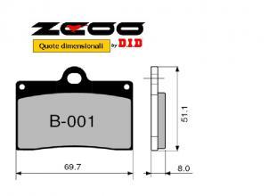45B00101 PASTIGLIE FRENO ZCOO (B001 EX C) HUSQVARNA SM 570 R 2001-2004 (ANTERIORE)
