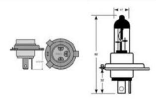 E0300321 LAMPADA H4 12V 60/55W ALOGENA P43T