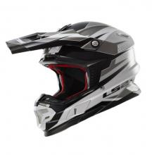 404564808/M ESA CASCO LS2 MX456 LIGHT FACTORY WHITE-BLACK-TITANIUM TAGLIA M