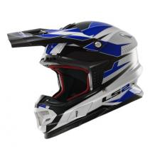 404564826/S ESA CASCO LS2 MX456 LIGHT FACTORY WHITE-BLACK-BLU TAGLIA S