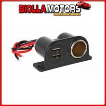 38967 LAMPA EXTRA-POWER, PRESA CORRENTE CON DOPPIA USB, 12/24V